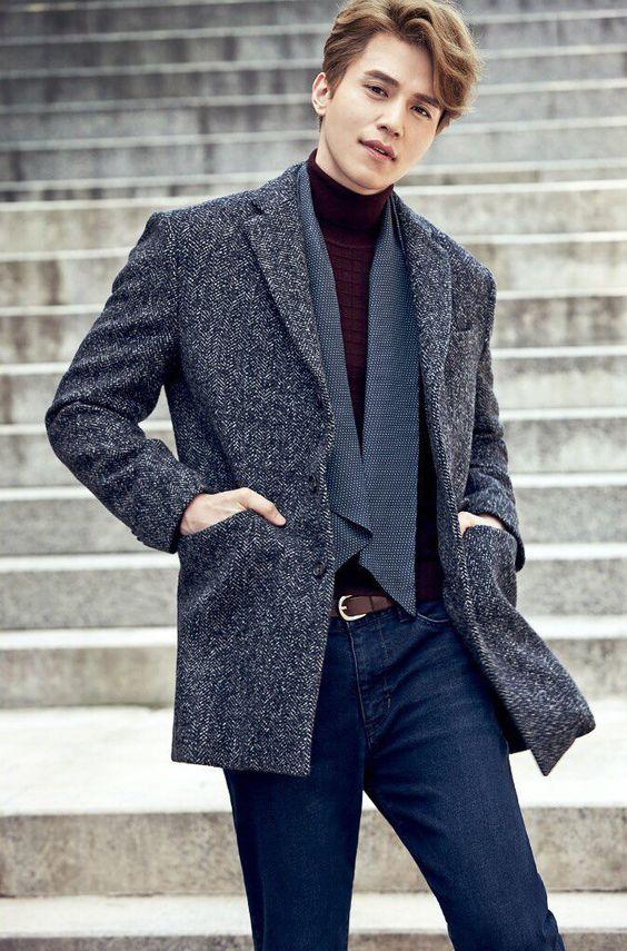 Set đồ mùa đông của Lee Dong Wook với áo khoác dệt kim
