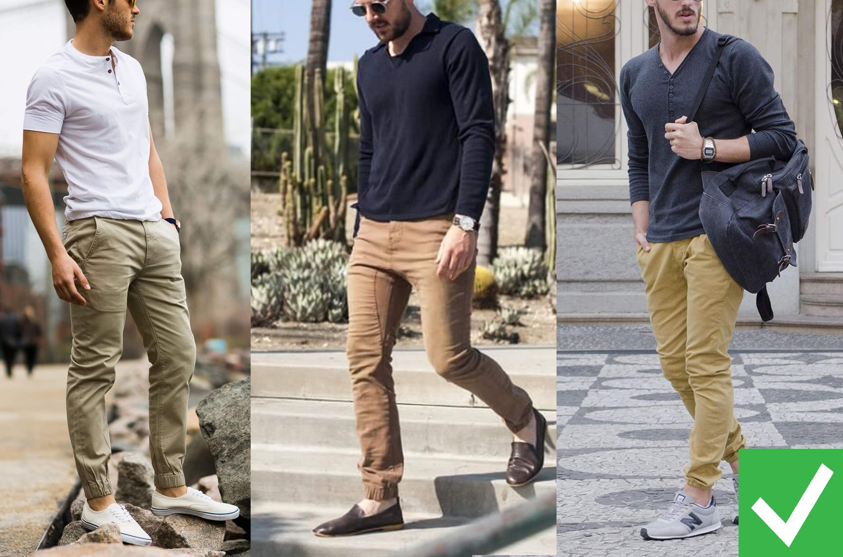 nam giới có thể chọn jeans đen hoặc thay thế bằng quần jogger