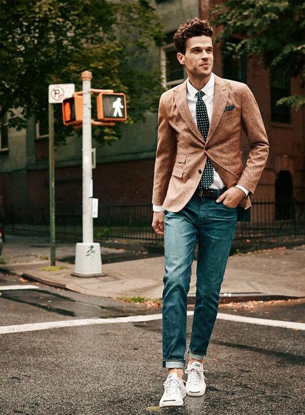 Quần áo vest - Phối đồ với sneaker trắng nam lịch lãm