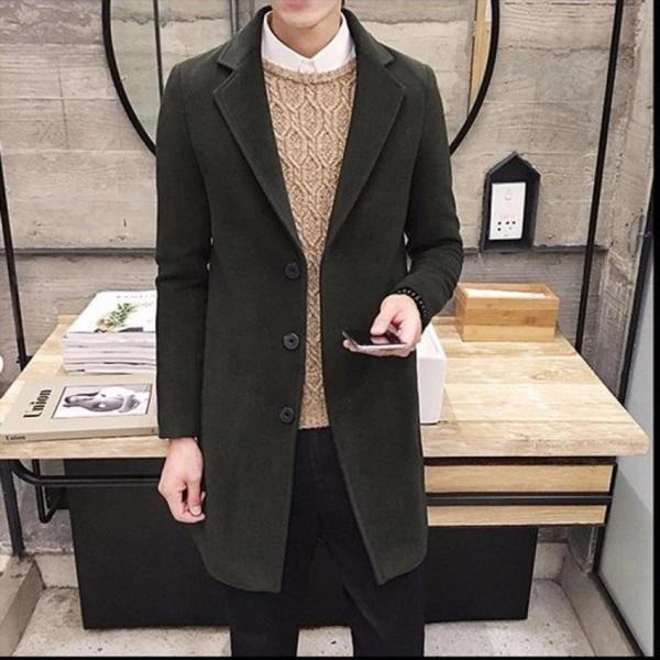 Thời trang mùa đông nam thanh lịch với áo khoác dáng dài