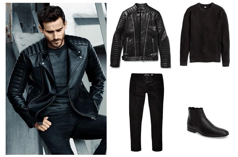 Áo da mặc cùng Quần jean đen