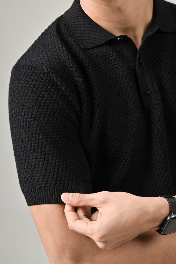Áo Polo Cotton Tổ Ong Basic – Đen
