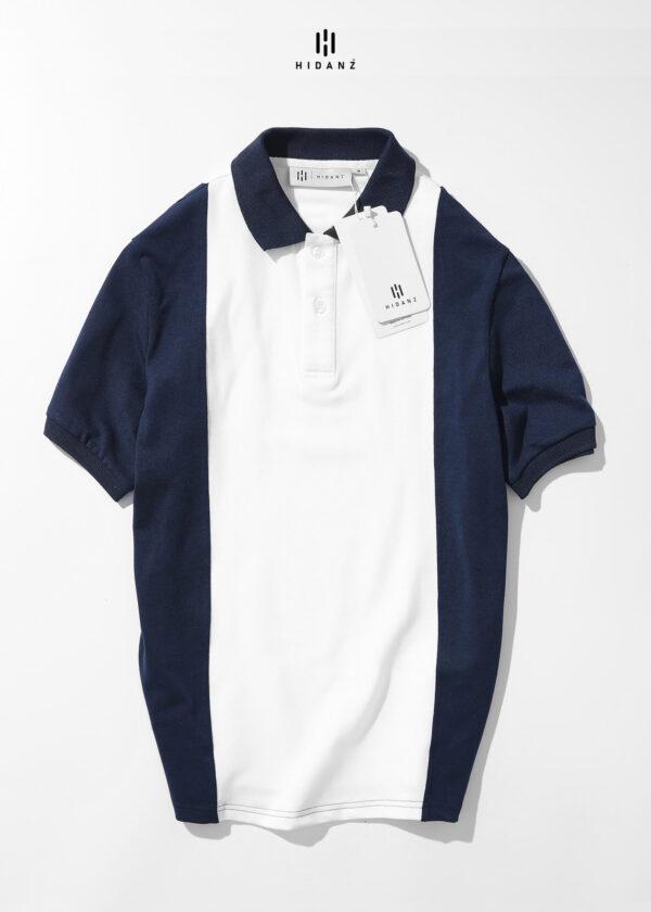 Áo Polo Cotton Mix Color – White x Dark Blue